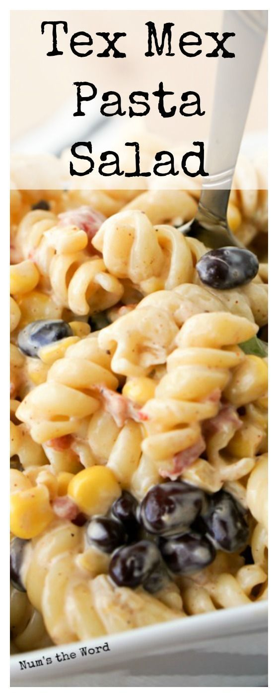 This Tex Mex Pasta Salad is quick to whip together and hearty enough for a main dish, side dish or lunch. Perfect for a picnic or potluck dish that everyone will love! #easypotluckrecipes