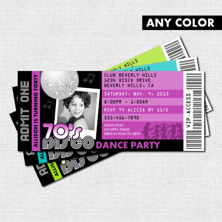 DISCO TICKET INVITATIONS 70s Dance Birthday Party by nowanorris