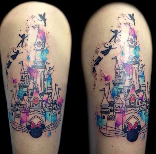 33 exquisite disney castle tattoo designs watercolor tattoo and tatting. Black Bedroom Furniture Sets. Home Design Ideas