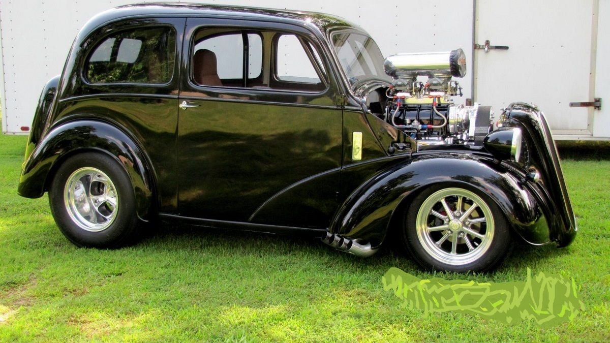 Very Cool Blown Black 48 Anglia Hot Rods Cars Muscle Ford Classic Cars Ford Anglia