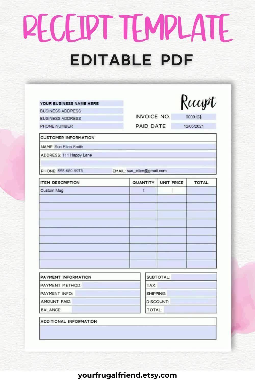 Invoice Template Editable Printable Business Invoice Editable Pdf Video Video Receipt Template Monthly Calendar Printable Invoice Template
