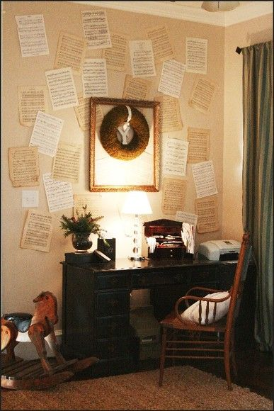 Old Sheet Music Or Book Pages Adhered To The Wall W Empty Old