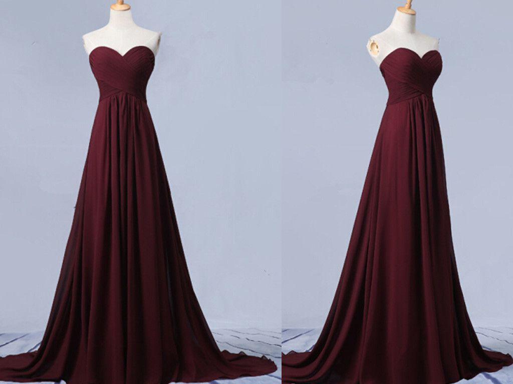 15b7cbe14a26 Beautiful Simple Sweetheart Maroon Long Chiffon Prom Dress, Simple Prom  Dresses 2016, Bridesmaid Dresses
