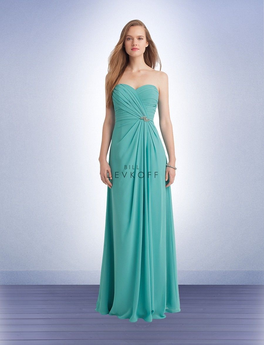 Bill Levkoff 1132 Bridesmaid Dress.  This Bill Levkoff 1132 chiffon bridesmaid dress is divinely detailed with a beaded brooch along the natural waistline.