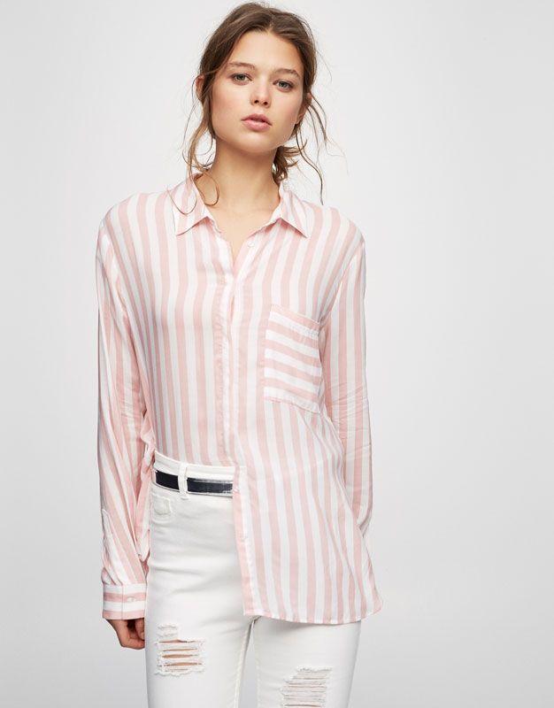 eb5935f214 Pull Bear - mujer - ropa - blusas y camisas - camisa estampada manga larga  - rosa - 05471377-V2017