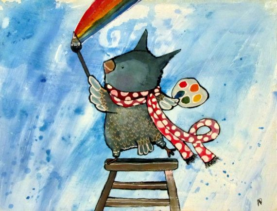 artist owl painting rainbows whimsical kids wall art by andralynn
