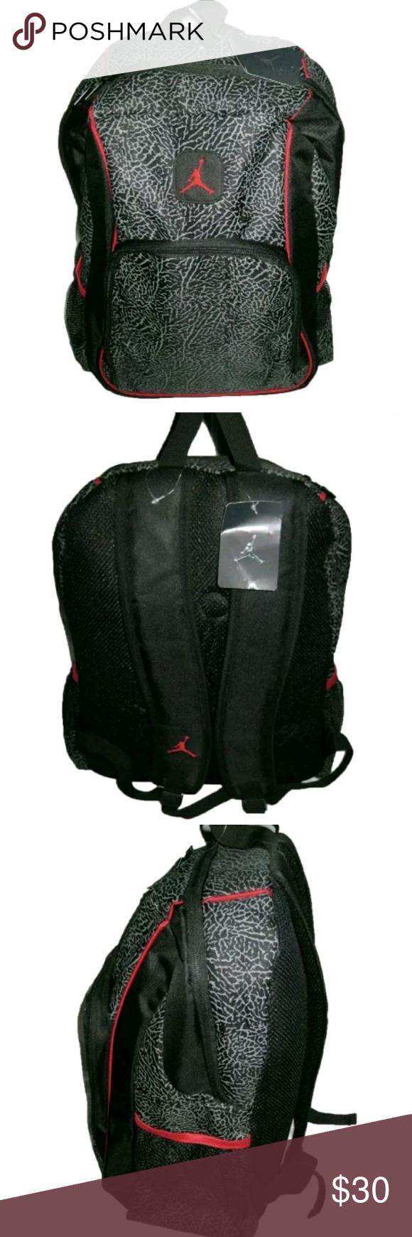 e55d70de9a Micheal Jordan Elephant Print Backpack Book Bag Micheal Jordan Red And  Black Elephant Print Backpack Book Bag Jordan Bags Backpacks
