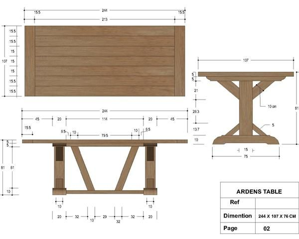 French Country Furniture Direct Arden X Trestle Table Dimensions