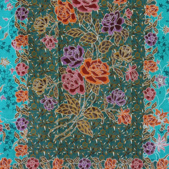 green tone  flowers  print pure cotton traditional by TheThailand