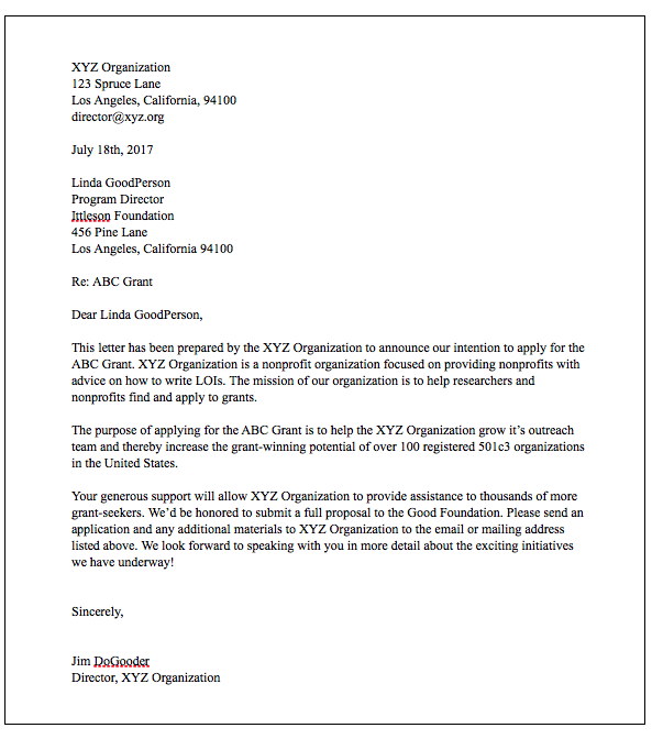 How To Write Winning Grant Lois With Examples Grant Writing Letter Of Intent Word Template