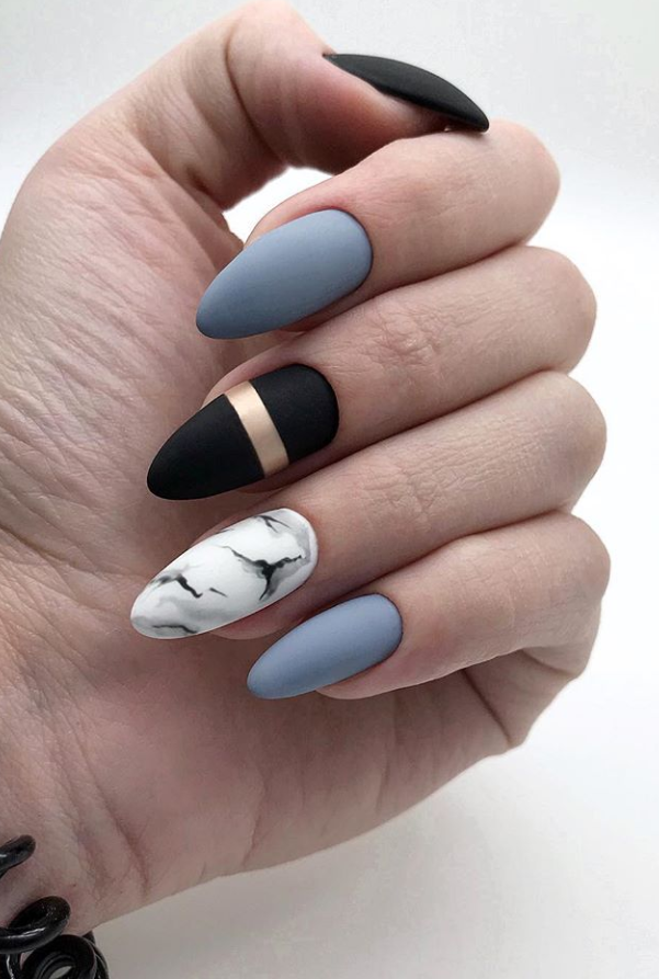 30 Fabulous Matte Nails Design For Short Nails Page 23 Of 30 Latest Fashion Trends For Woman Matte Nails Design Black And Blue Nails Short Nail Designs
