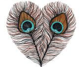Peacock Feather Heart by Marisa Redondo
