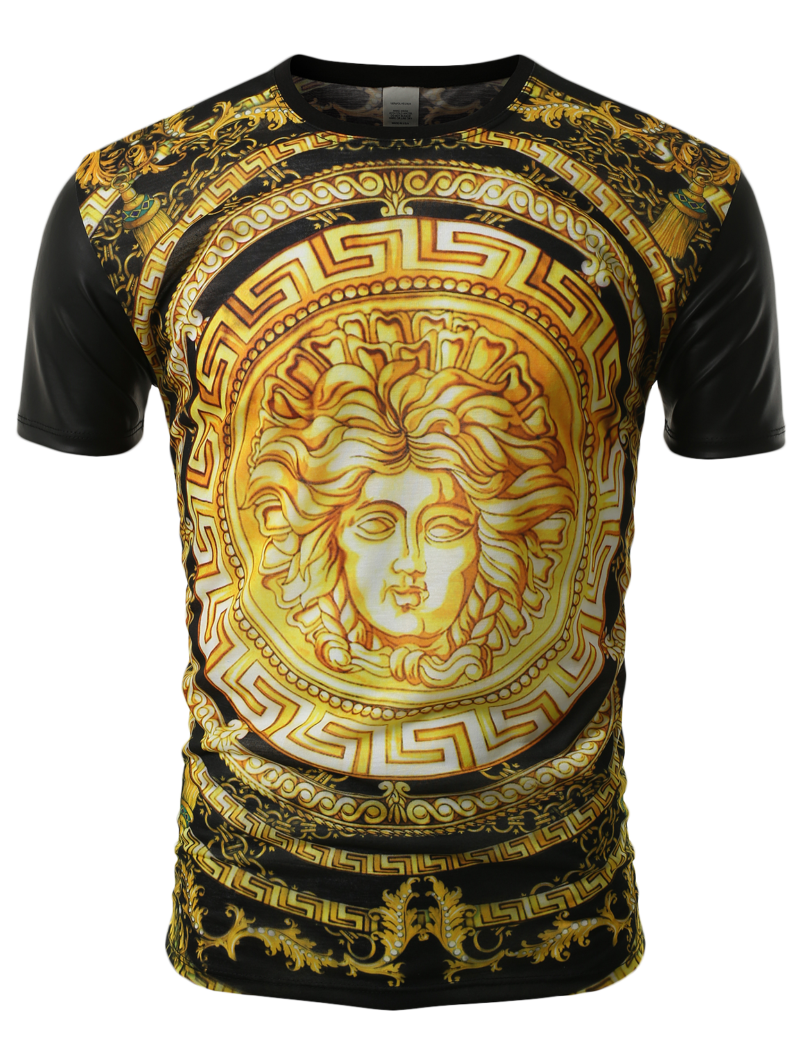 SMITHJAY Mens Hipster Hip-Hop Gold Medusa Head Sublimation PU Sleeves Tee   smithjay 4e697bc861e