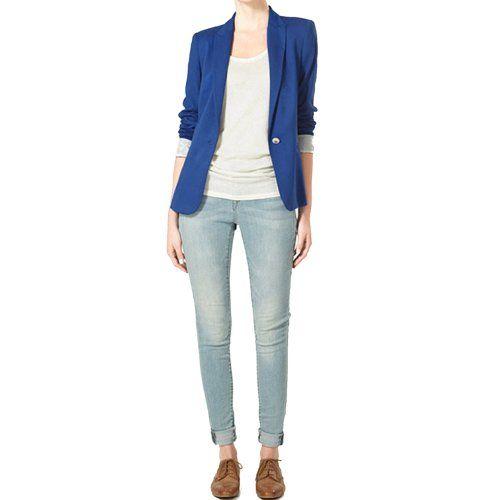 Finejo Women's Candy Color Suit Blazer in Blue Finejo