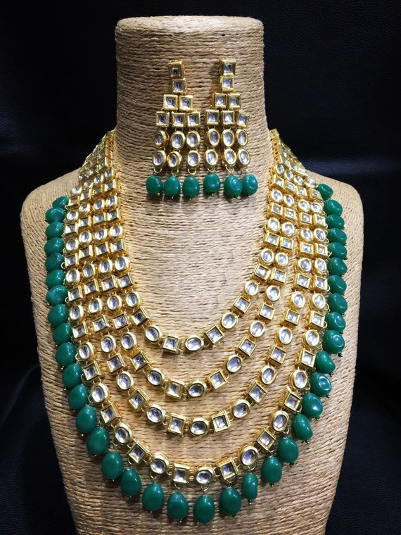 Indian Necklace Long Multi Colour Rani Haar Kundan Earring Partywear Set Jewelry