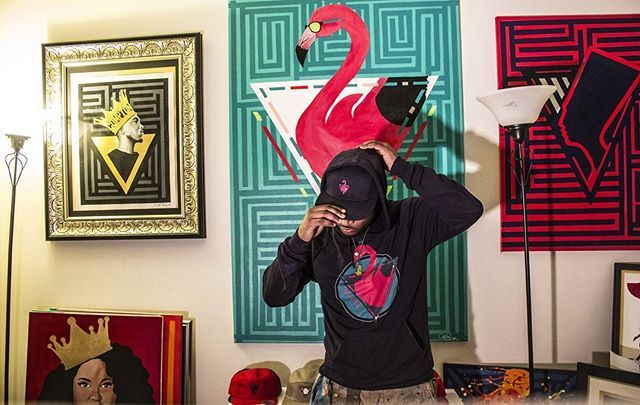 Hand painted then illustrated digitally  King flamingo hoody and 5 panel hat available now!  @art.illery_apparel  #mistersampson #losangeles