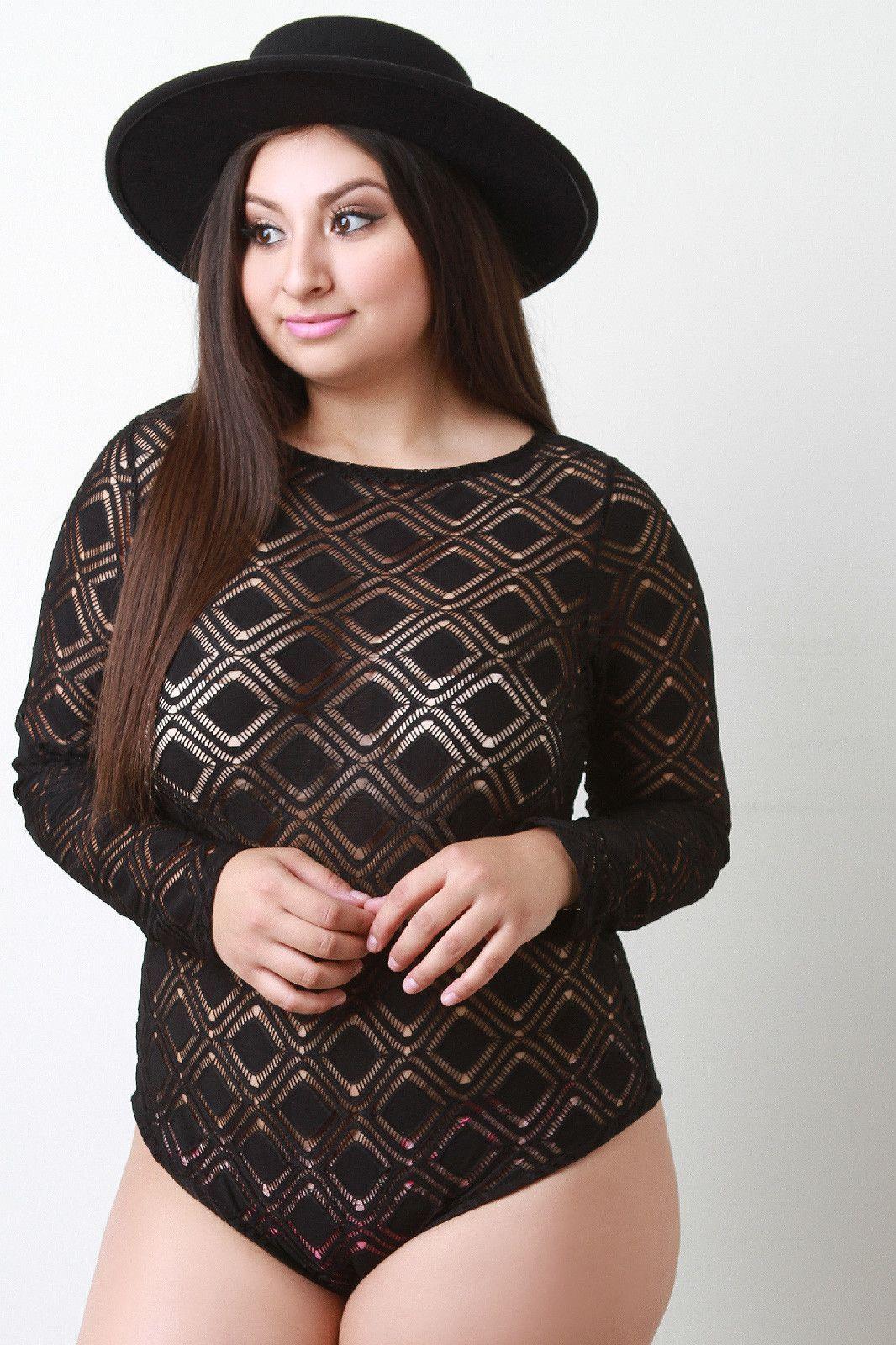 Description this plus size bodysuit is mesh design