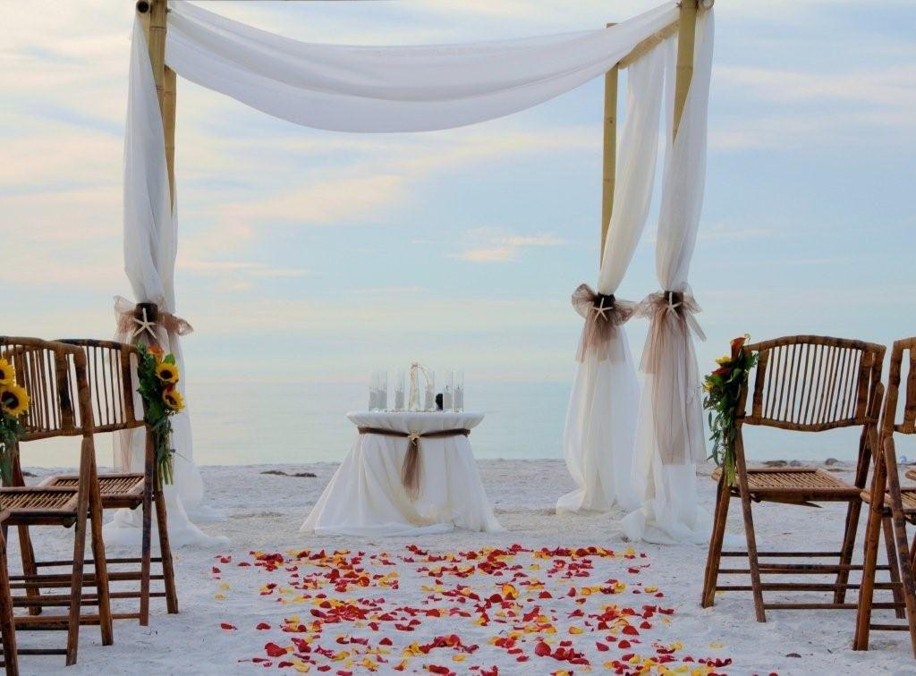 loose fabric Wedding beach ceremony, Simple beach