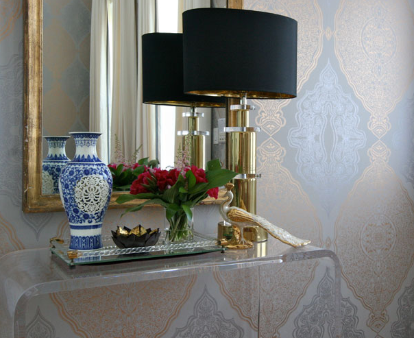 Foyer Console Furniture : Eclectic foyer design with metallic silver gold wallpaper cb