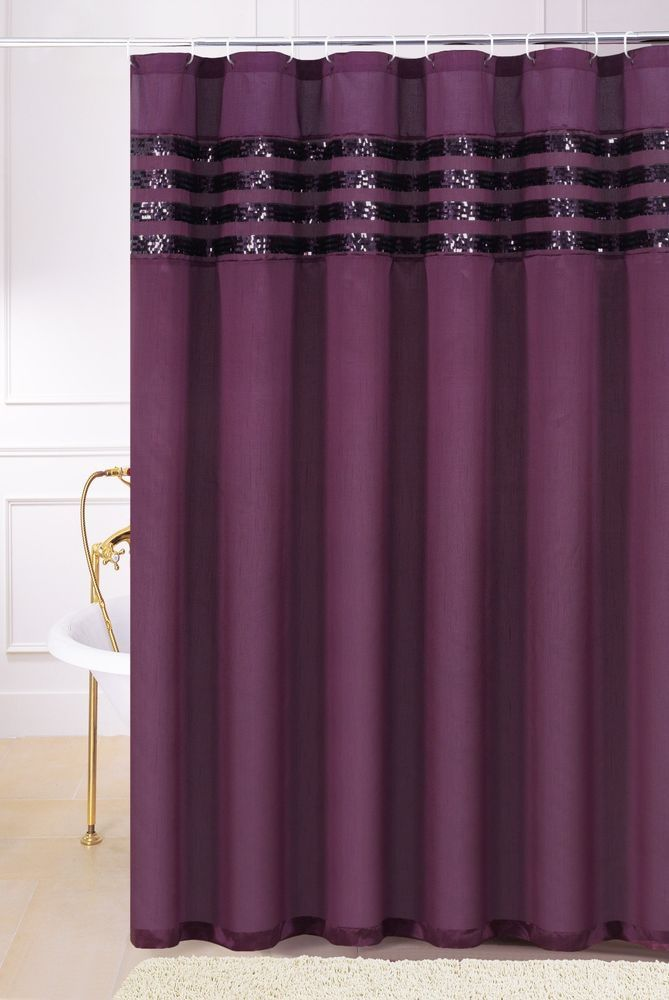 Plum Purple Faux Silk Fabric Shower Curtain With Sequins Chd