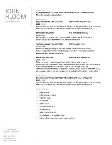 Free Resume Templates In Microsoft Word  Resumes