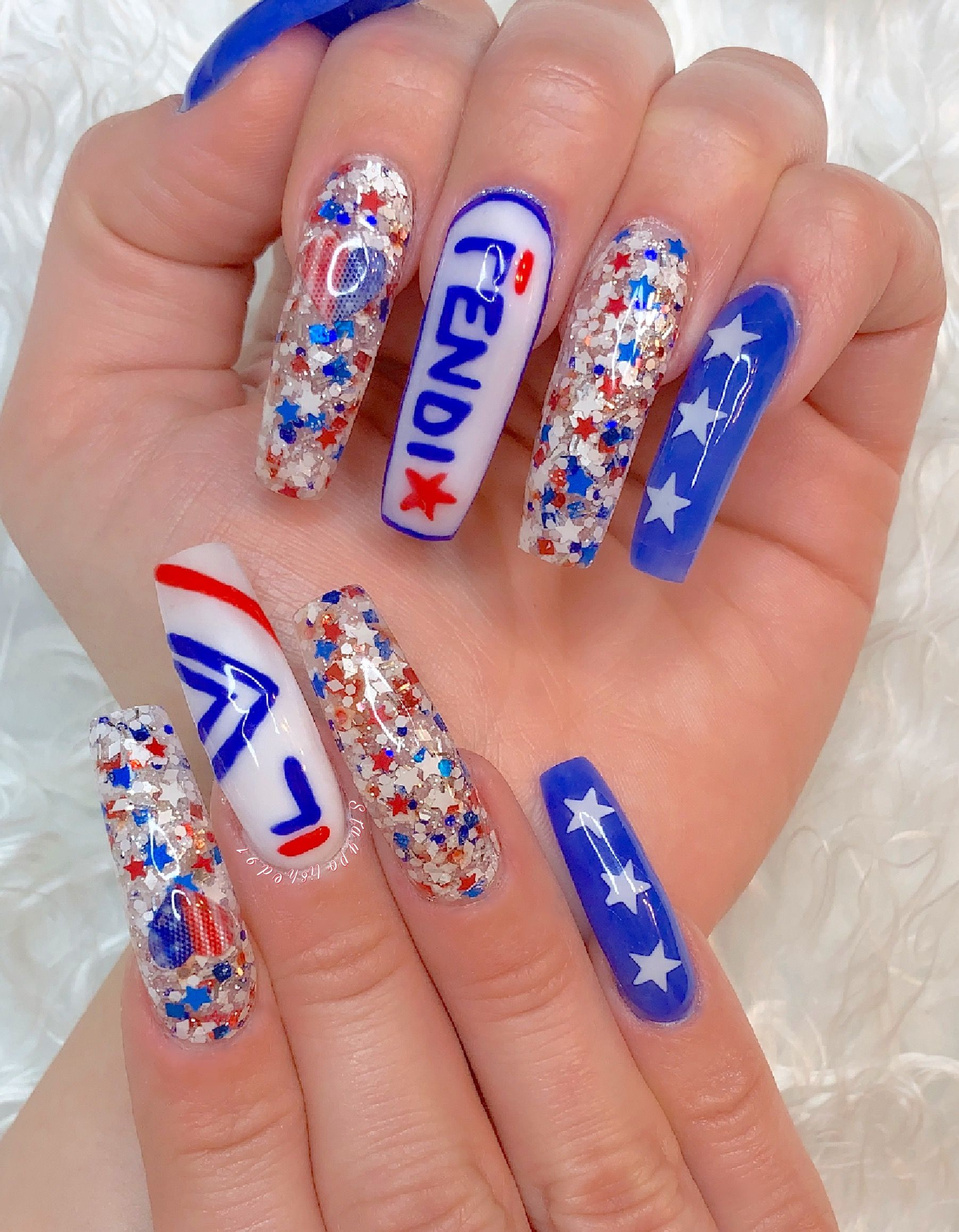 Staypolished91 Instagram 4th Of July Nails Blue Acrylic Nails Ombre Nail Designs