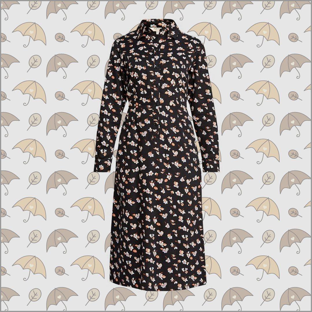 piper floral shirt dress aus 100% bio-baumwolle von people