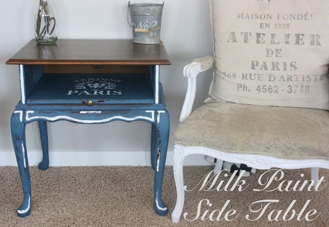 Milk paint side table w/ french flair