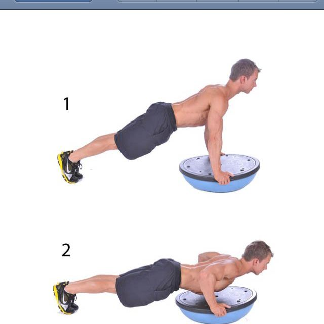 Plank Using Fit Ball And Bosu Ball: Bosu Ball Push Ups. You Can Also Do Bosu Ball Planks For A