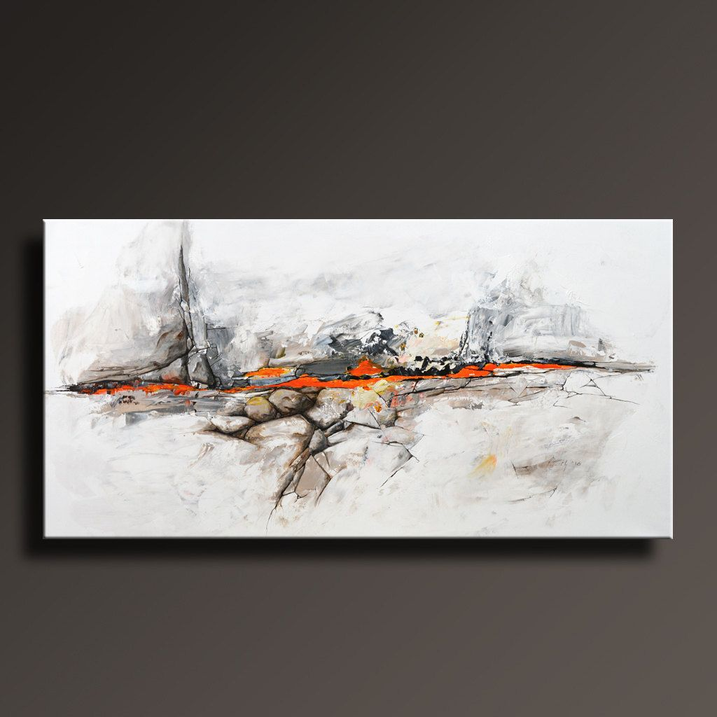 48 Original Abstract Painting Black White Gray Orange Painting On Canvas Contemporary Abstract Modern Fine Art Abf38i5 Abstract Painting Contemporary Art Canvas Canvas Painting