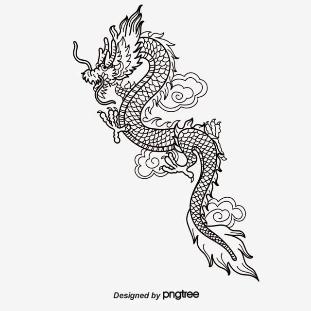 Vector Hand Painted Chinese Dragon Vector And Png Chinese Dragon Tribal Dragon Tattoos Small Tattoos For Guys