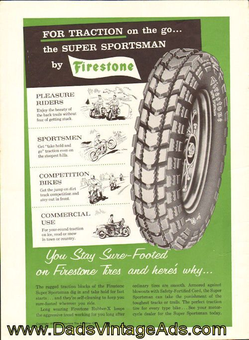 1959 Firestone Motorcycle Tires Vintage Magazine Advertisement