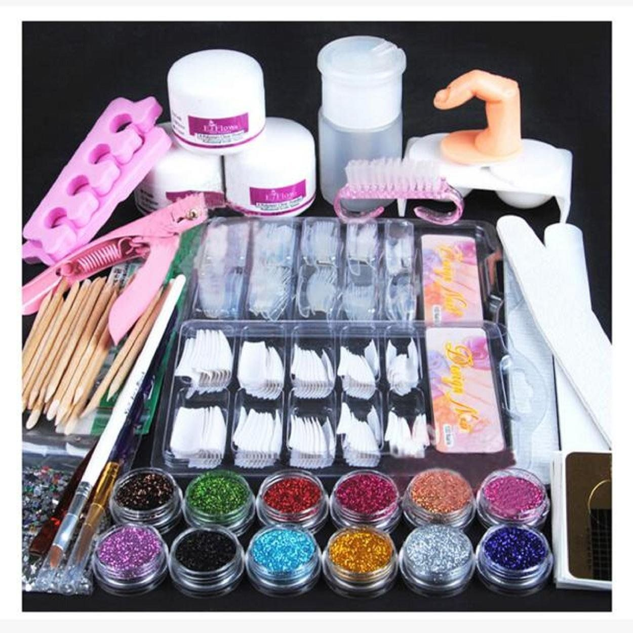 Kingfansion Acrylic Powder Glitter Nail Brush False Finger Pump Nail Art Tools Kit Set More Info Coul Acrylic Nail Kit Nail Art Tool Kit Powder Glitter Nails