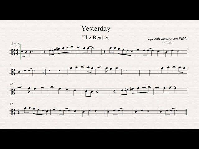 Yesterday Partitura Para Viola Viola Sheet Music Viola Music