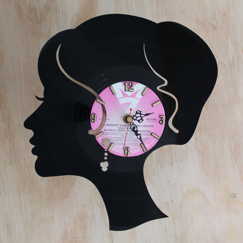 Handcarved birds silhouette vinyl record clock, record clock, vinyl ...