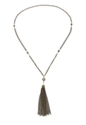 Colar Shoulder Pingente Franja dourado, feito em metal, com cordão em corrente e pingente de tassel. Mede 78x13cm (LXA).