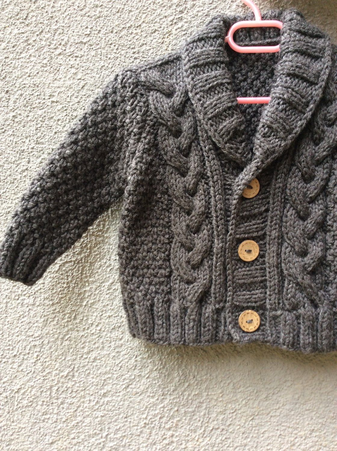 Knit Baby Sweater, Hand Knitted Grey Baby Cardigan, Gray Baby boy ...