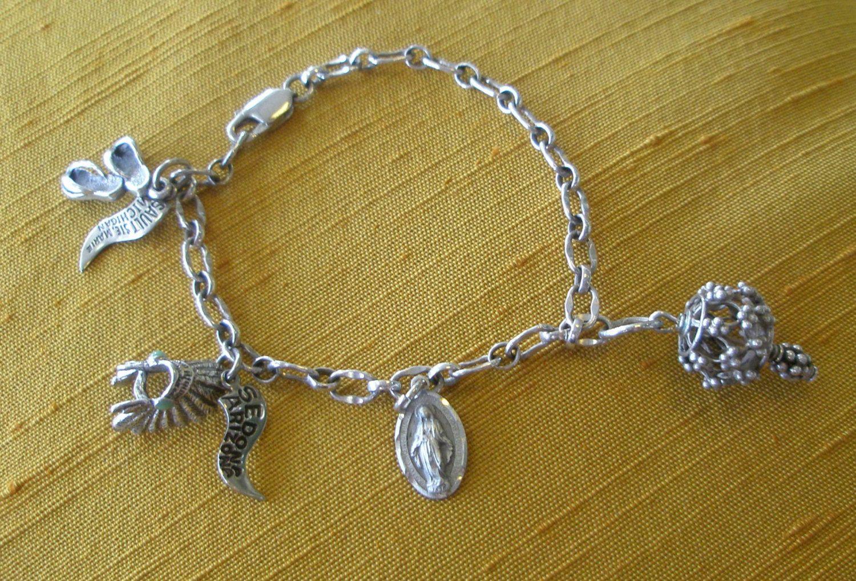 Vintage sterling silver link charm bracelet virgin mary