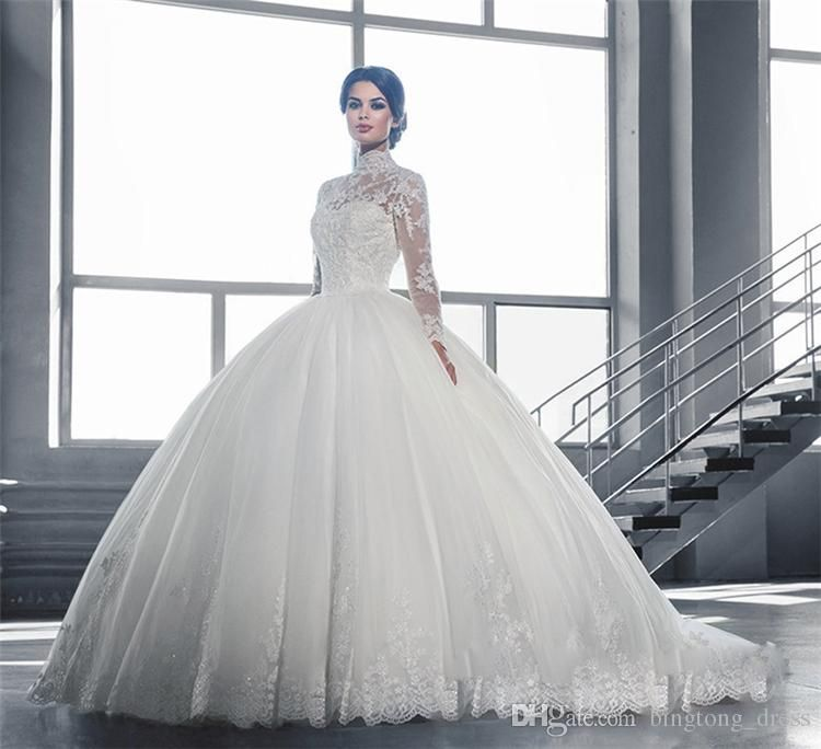 Cheap 2016 Modest Pnina Tornai Ball Gown Wedding Dresses With Sleeve Sheer High Neck Lace Applique Beaded Country Bridal Gowns Custom Dress 12 As Low