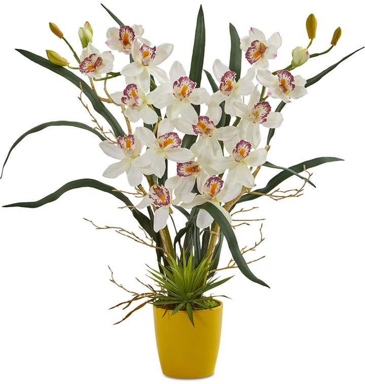 Nearly Natural Cymbidium Orchid Artificial Arrangement In Yellow