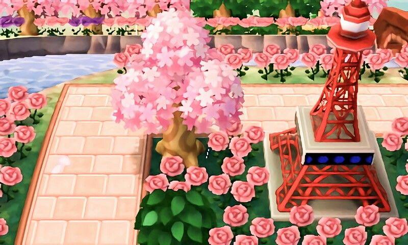 Town Inspiration Tokyo Tower Cherry Blossom Path Animal Crossing Animal Crossing Qr Leaf Animals