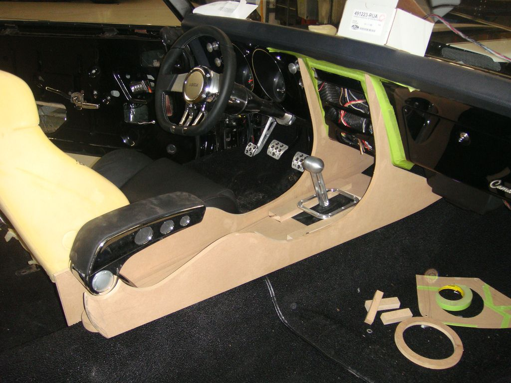 68 camaro custom console build  mdf carbon fiber and