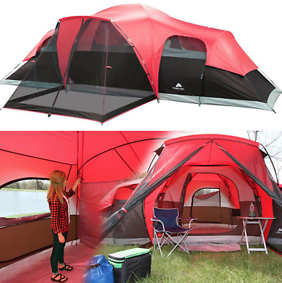 Details About Large Outdoor Camping Tent 10 Person 3 Room Cabin Screen Porch Waterproof Red Large Tent Tent Camping Hiking