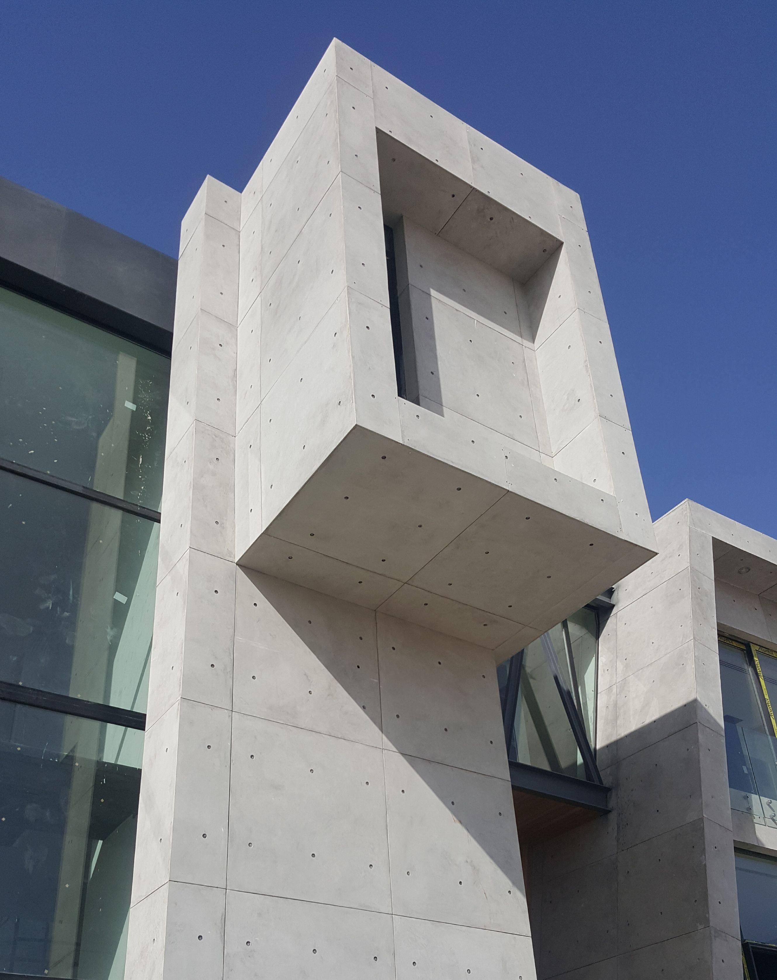 Concrete Exterior Facade Cladding With Cretox Panel The Glue Up Concrete Tile Panel For Creati Concrete Wall Panels Precast Concrete Concrete Panels Interior
