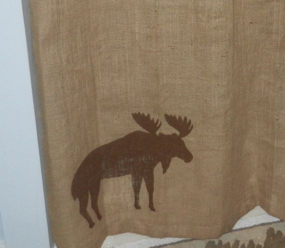 Burlap Moose Shower Curtain 72 X By CraftyAmour On Etsy 4500