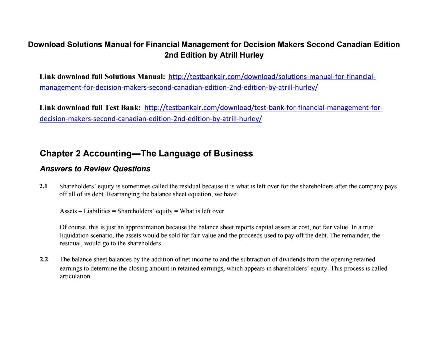 Download Solutions Manual for Financial Management for Decision Makers  Second Canadian Edition 2nd