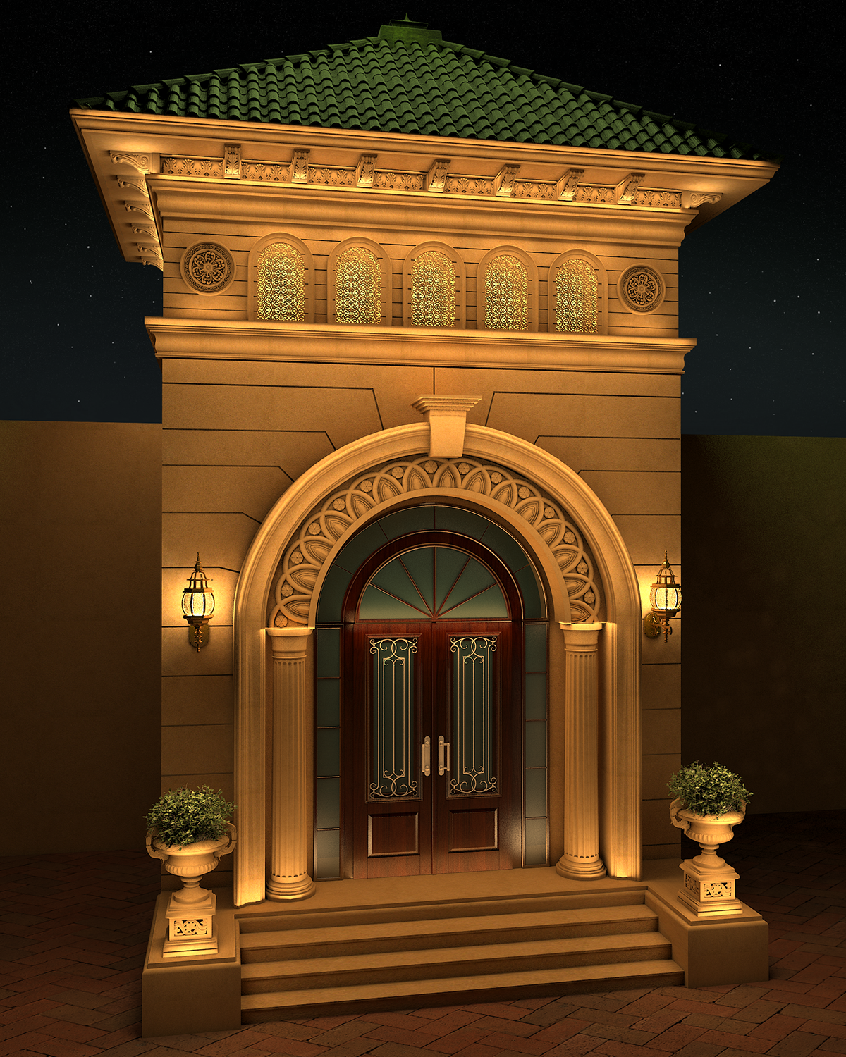17 Elegant Gates To Transform Your Yard Into Inviting Place: Villa Classic Entrance Design On Behance