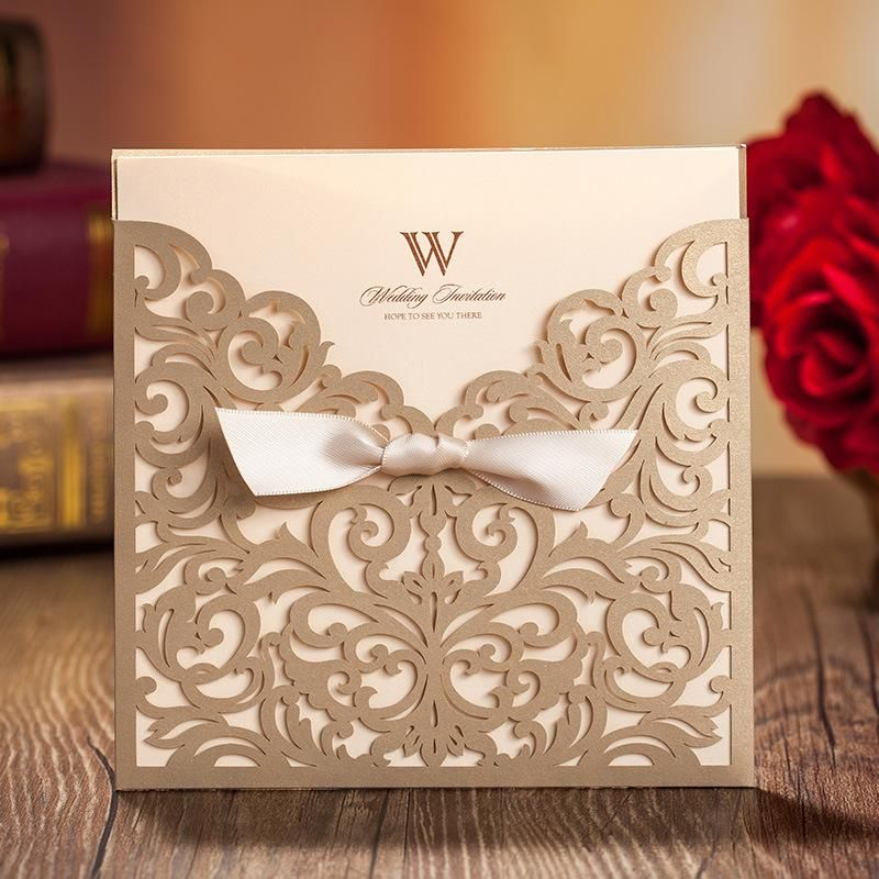 Laser Cut Flower Bow 2015 Wedding Invitation Card Gold Flower Hollow - invitation template online