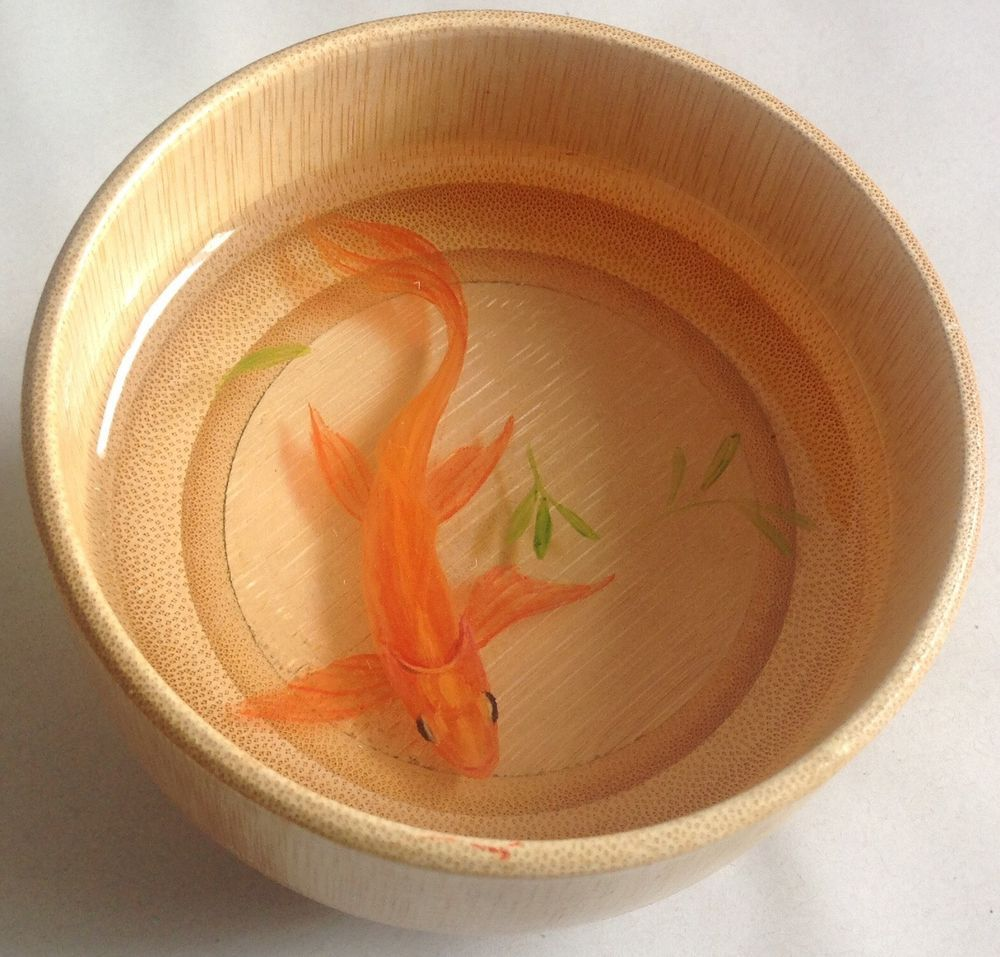 D Goldfish Hand Painting In The Resin And Bamboo Bowl Goldfish - Incredible 3d goldfish drawings using resin