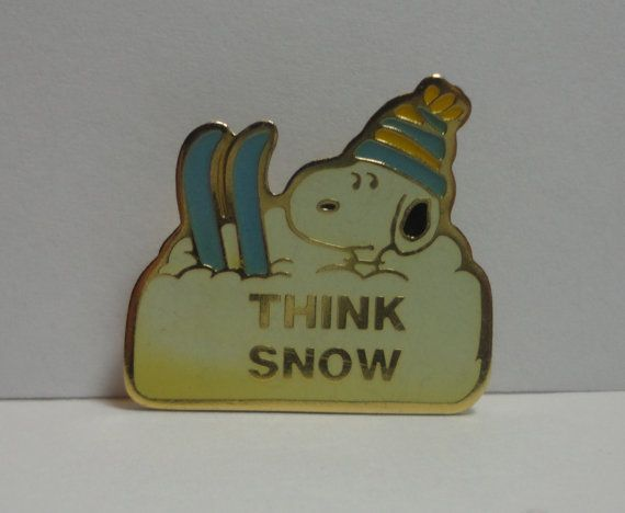 Hey, I found this really awesome Etsy listing at https://www.etsy.com/listing/170087673/vintage-snoopy-think-snow-ski-pin-aviva